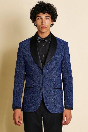 Navy Skinny Prom Blazer With Shawl Collar