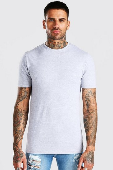 Grey Muscle Fit Crew Neck T-Shirt