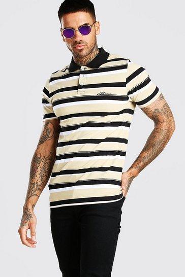 Khaki MAN Signature Horizontal Yarn Dyed Stripe Polo