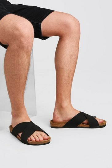 Black Faux Nubuck Cross Over Sandal