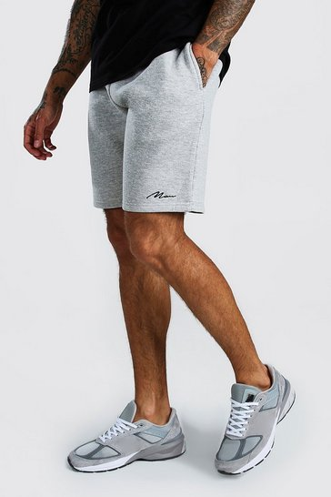 Grey marl MAN Signature Mid Length Jersey Shorts