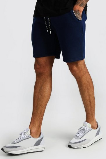 Navy Mid Length Jersey Shorts With MAN Draw Cords