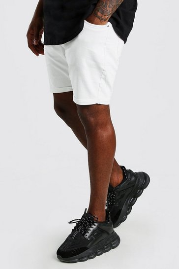 White Big And Tall Skinny Fit Denim Shorts