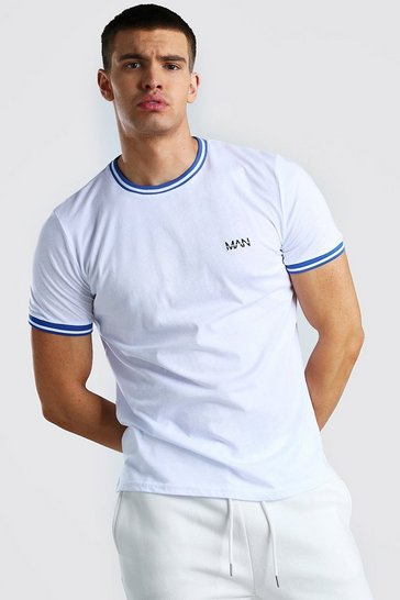 White MAN Signature T-Shirt With Sports Rib Neck & Cuff