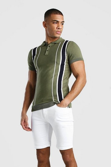 Khaki Muscle Fit Knitted Polo With Stripe Detail