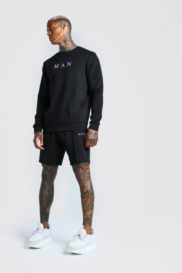 Black Scuba MAN Sweater & Pintuck Short Set