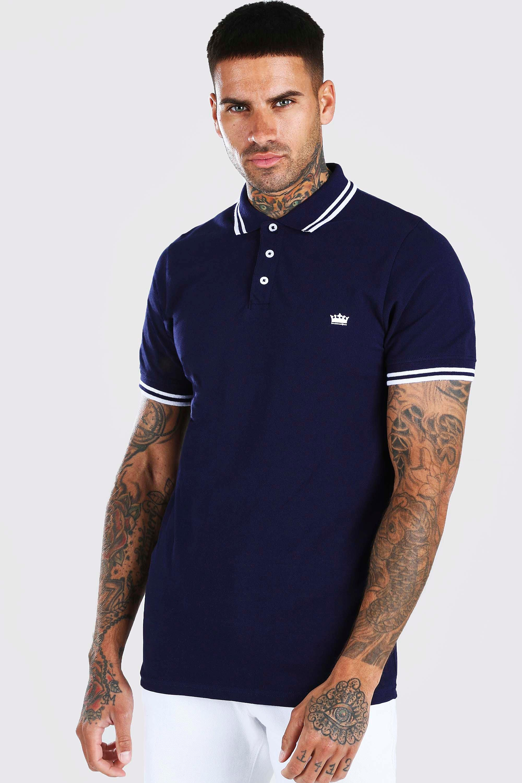 Рубашка-поло из ткани пике с вышивкой в виде короны фото