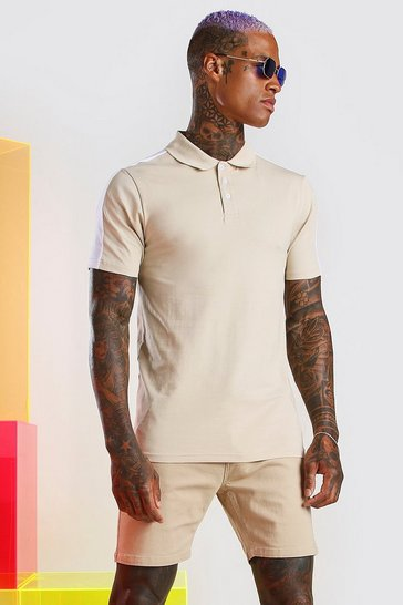 Taupe Muscle Fit Colour Block Polo