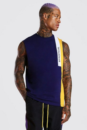 Navy MAN Official Colour Block Drop Armhole Tank