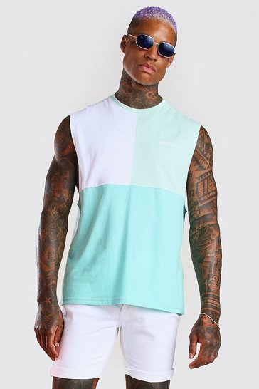 Mint MAN Official Colour Block Drop Armhole Tank