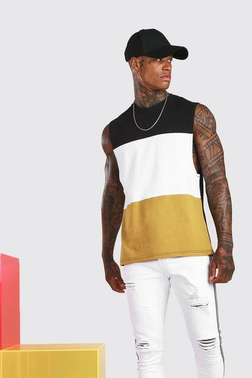 Mustard Colour Block Drop Armhole Tank
