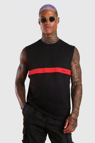 Black MAN Signature Colour Block Drop Armhole Tank
