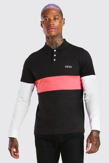 Black Original MAN Long Sleeve Colour Block Polo