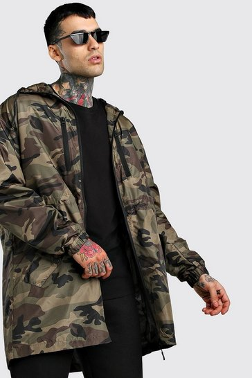 Khaki Camo Lightweight Zip Through Parka