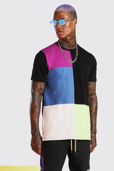 Black Longline Colour Block T-Shirt With Split Hem