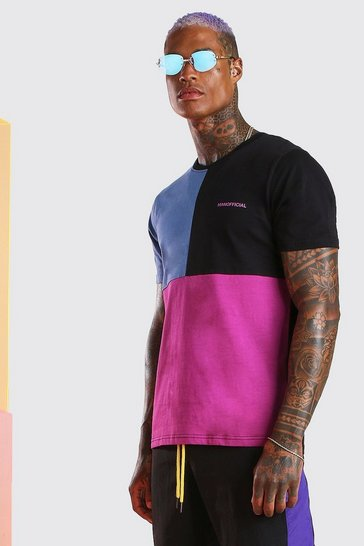 Purple MAN Official Multi Colour Block T-Shirt