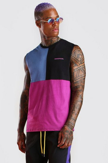Black MAN Official Colour Block Drop Armhole Tank
