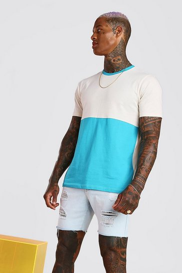 Blue Colour Block T-Shirt
