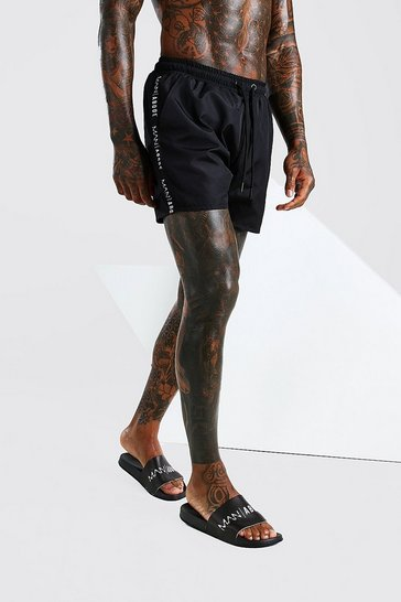 Black Abode Swim Short With Side Tape