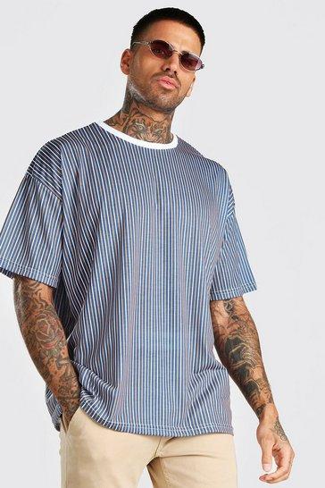 Navy Oversized Vertical Stripe T-Shirt