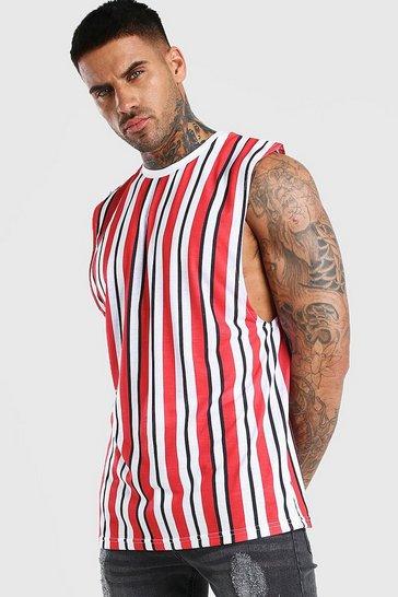 Red Vertical Stripe Print Drop Armhole Tank