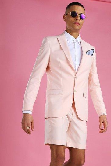 Light pink Skinny Plain Suit Jacket