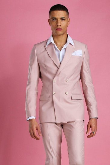 Dusky pink Skinny Plain Double Breasted Suit Jacket