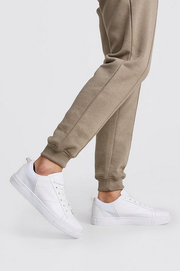 White Rubberised Laces Patent Detail Trainer