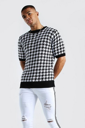 Black Regular Fit Houndstooth Knitted T-Shirt