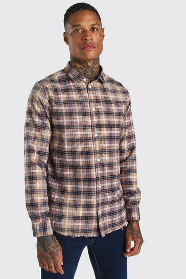 Beige Long Sleeve Bleached Check Shirt