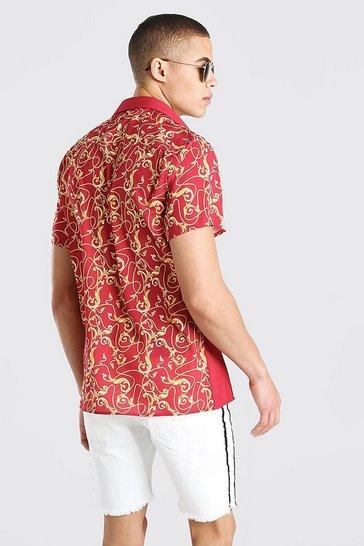 Red Short Sleeve Back & Sleeve Print Shirt
