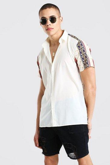 Ecru Short Sleeve Back And Sleeve Print Shirt