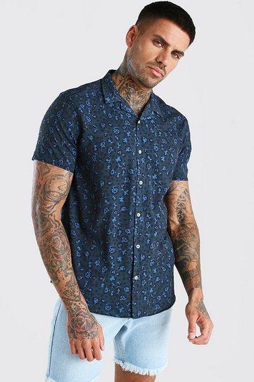 Teal Short Sleeve Revere Collar Leopard Print Shirt
