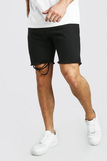 Black Slim Fit Denim Short With Distressed Raw Hem