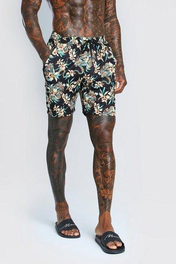 Black Dragon Floral Print Shorts