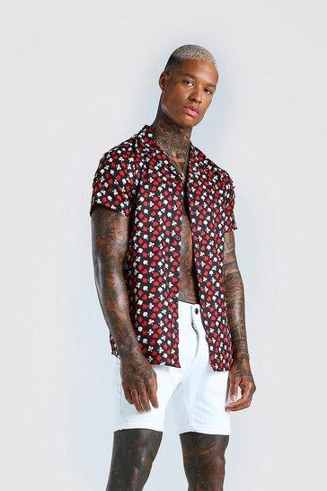 Black Short Sleeve Suits Print Shirt