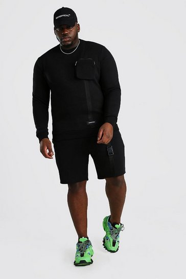 Black Big And Tall MAN Official Short Tracksuit