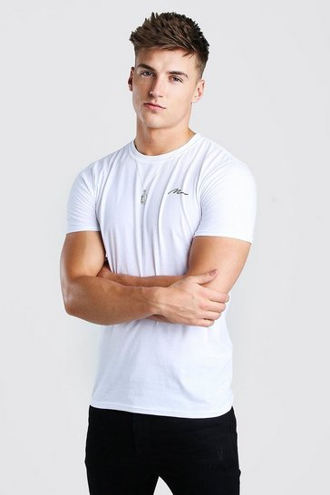 White MAN Signature Chest Print T-Shirt
