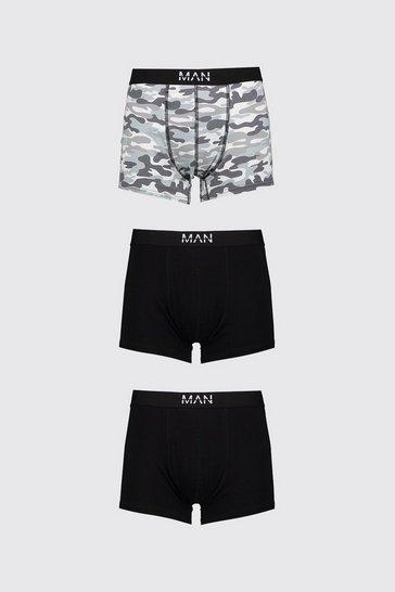 Grey 3 Pack MAN Dash Camo Print Mid Length Trunk
