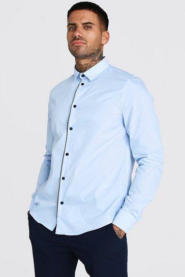 Blue Long Sleeve Contrast Buttons Formal Shirt