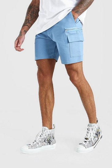 Petrol Twill Cargo Shorts With Zips