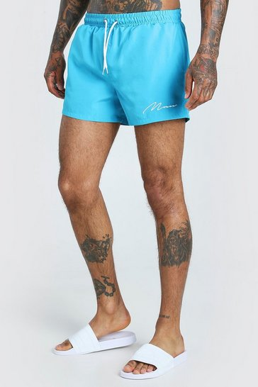 Teal MAN Signature Short Length Swim Shorts