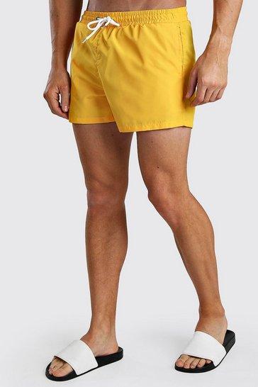 Orange Plain Mid Length Swim Short