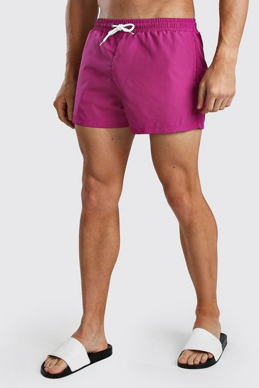 Fuchsia Plain Mid Length Swim Short