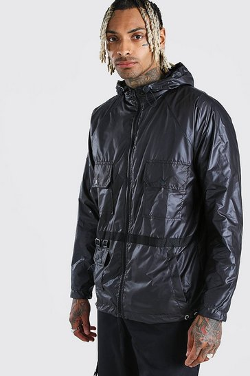 Black Utility Lightweight Hooded Field Jacket