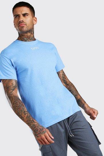 Blue Original MAN Neck Print T-Shirt
