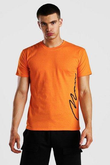 Orange MAN Signature Side Print T-Shirt