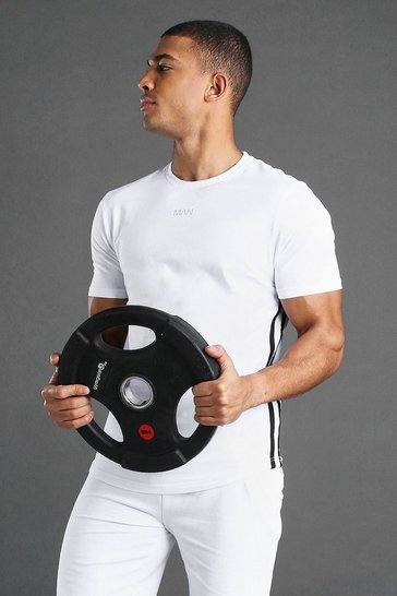 White MAN Active T-Shirt With Curved Hem & Side Stripes