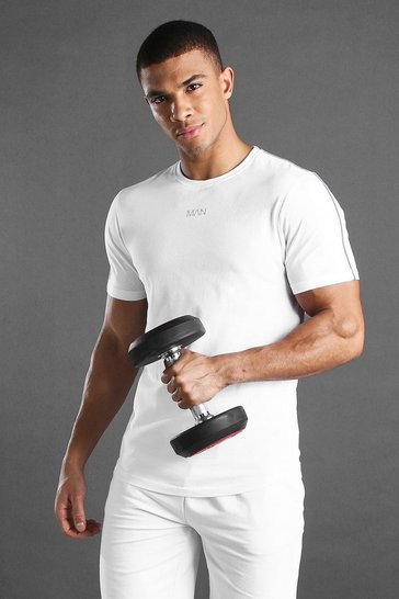 White MAN Active Curved Hem T-Shirt With Piping