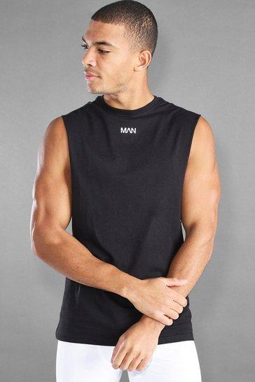 Black MAN Active Loose Fit Drop Arm Hole Vest